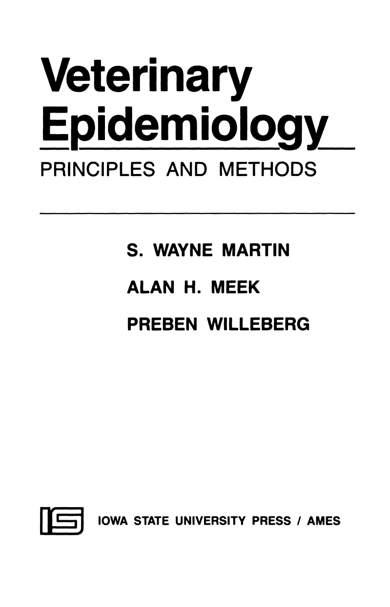 Veterinary Epidemiology Principles and Methods